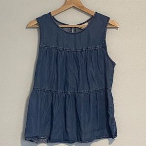 Chambray Tiered Top